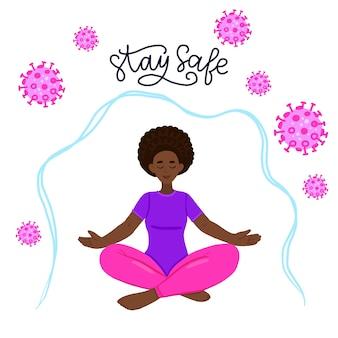 蓮華座のアフリカ系アメリカ人女性ウイルス、インフルエンザ、コロナウイルスに対する保護の概念