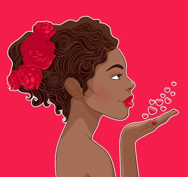 愛のアフリカ系アメリカ人の女性