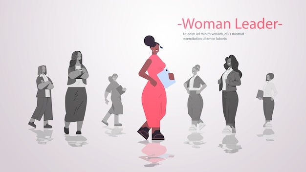 African american woman leader standing in front of businesspeople group women's team leadership business competition concept horizontal  copy space  illustration