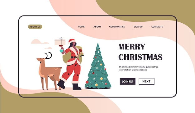 African american woman in santa claus costume holding gift box standing with reindeer new year merry christmas holiday celebration concept full length horizontal copy space vector illustration