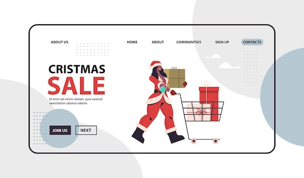 African american woman in santa claus costume pushing trolley cart with gifts new year merry christmas holiday celebration concept full length horizontal copy space vector illustration