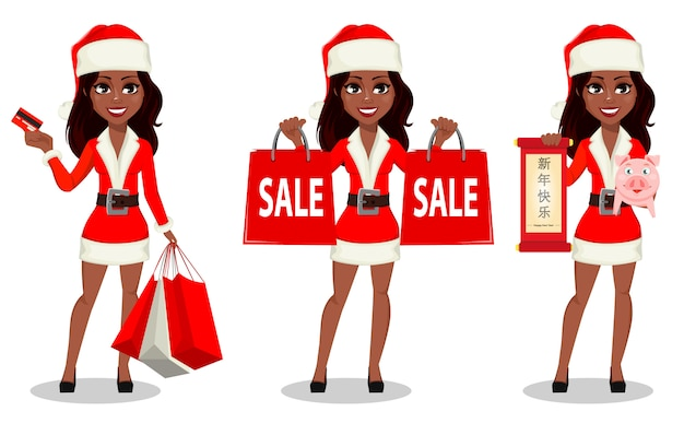 African-american woman in santa claus costume