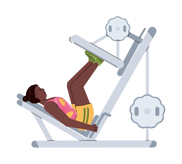 African american woman on training machine flat vector illustration isolated