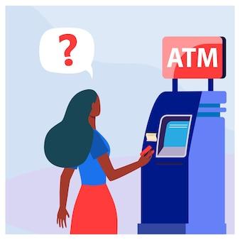Афро-американская женщина с помощью банкомата. деньги, карты, наличные плоские векторные иллюстрации. финансы и цифровые технологии