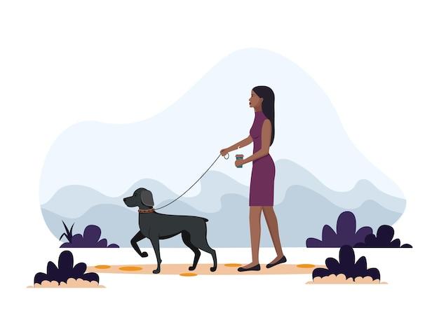 개를 산책하는 아프리카 계 미국인 여자. 플랫 스타일의 벡터 일러스트 레이 션, 건강한 라이프 스타일, 스포츠, 운동에 대한 개념 그림