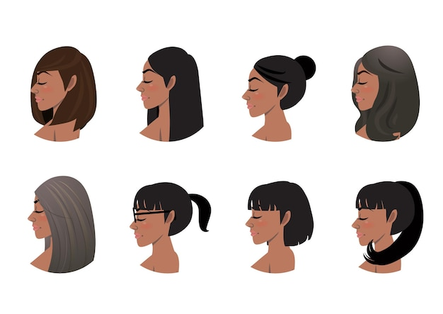 African american women hair styles collection. black women side view avatars set
