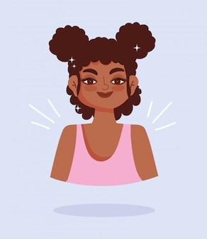 アフリカ系アメリカ人の若い女性の肖像画漫画キャラベクトルイラスト