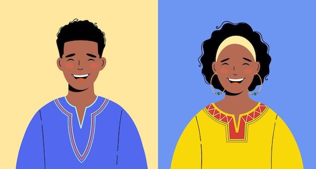 民族衣装を着たアフリカ系アメリカ人。黒人男性と女性のイラスト。アバターに最適です。ベクター