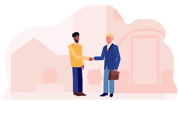 アフリカと白人の男性が街の通りの背景で握手します。商売上の取引。ベクトルイラスト