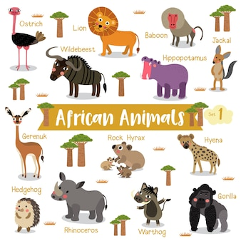 African animal cartoon with animal names
