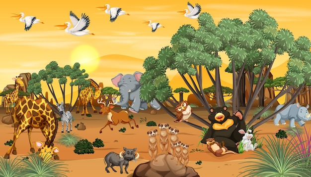 일몰 시간에 숲 풍경에 아프리카 동물