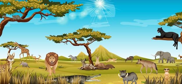 森の風景シーンでアフリカの動物