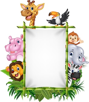 African animal with blank sign with nature concept