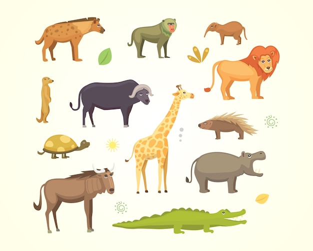 アフリカの動物漫画セット。象、サイ、キリン、チーター、シマウマ、ハイエナ、ライオン、カバ、ワニ、ゴリラなど。サファリイラスト。