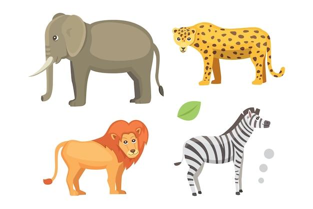 アフリカの動物漫画セット。サファリイラスト。