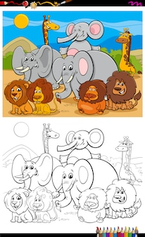 African animals characters group color book page