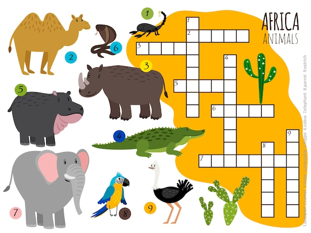 African animals crossword