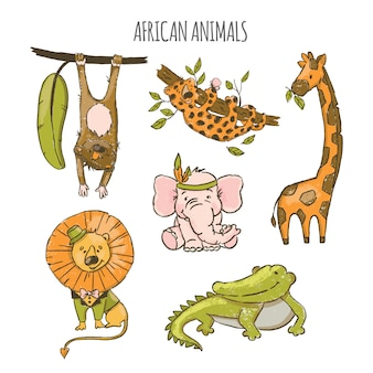 African animals cute cartoon circus zoo hand drawn