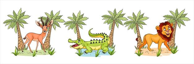 Африканские животные. забавные персонажи животных газель, крокодил, лев с пальмами в мультяшном стиле. детская иллюстрация. векторная коллекция.