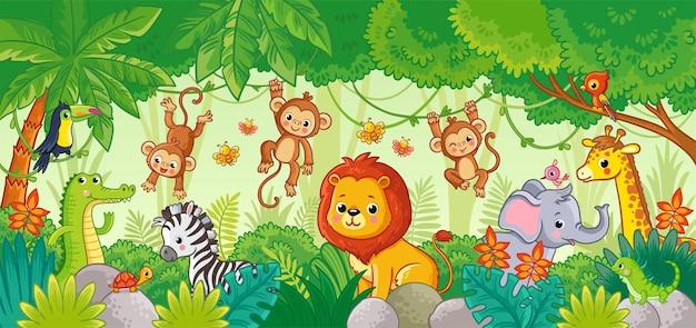 ジャングルのアフリカの動物かわいい漫画の動物動物のセット