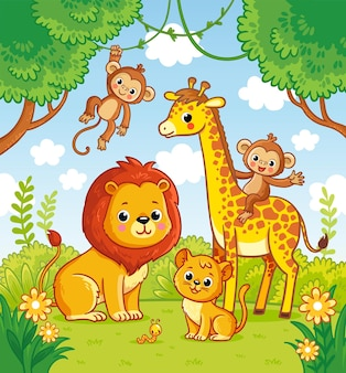 African animals in the jungle a lion and a giraffe vector monkey