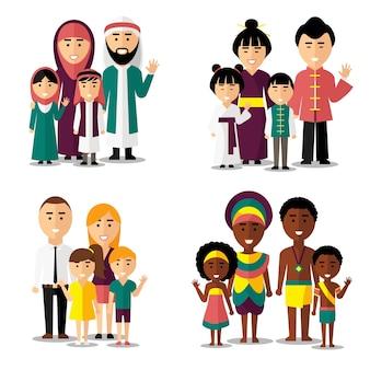 アフリカ、アジア、アラブ、ヨーロッパの家族。家族アジア人、家族アフリカ人、家族ヨーロッパ人、家族アジア人。ベクトルイラスト文字アイコンセット