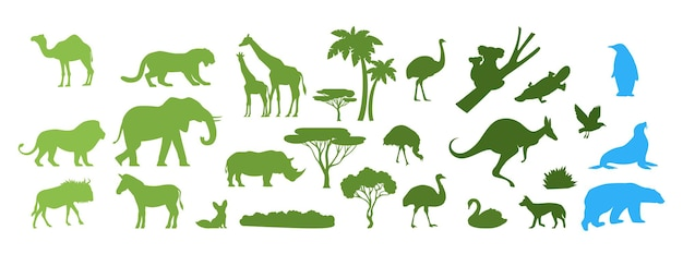 African australian arctic wild animal silhouettes vector paper cut illustration save animals discove...