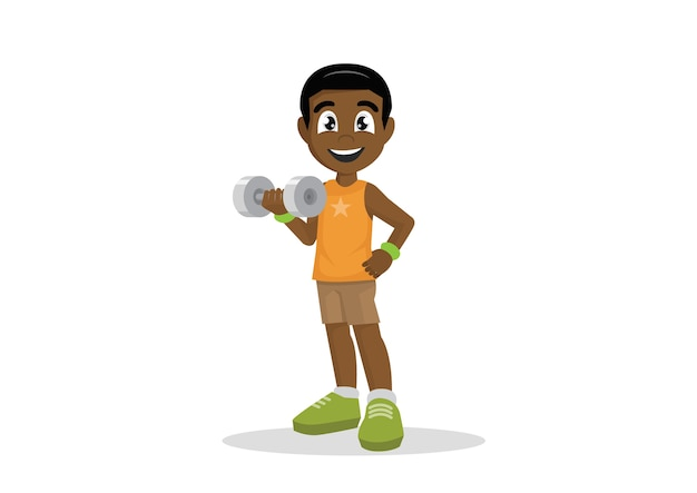 African boy exercising with dumbbell.