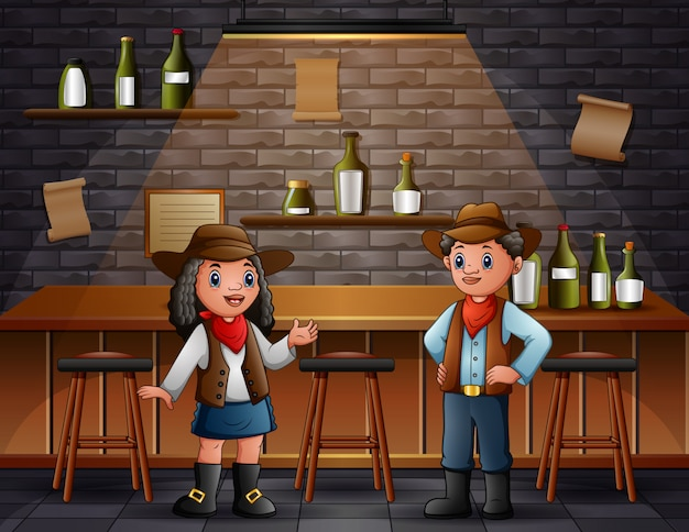 African boy and girl in cowboy clothes at bar