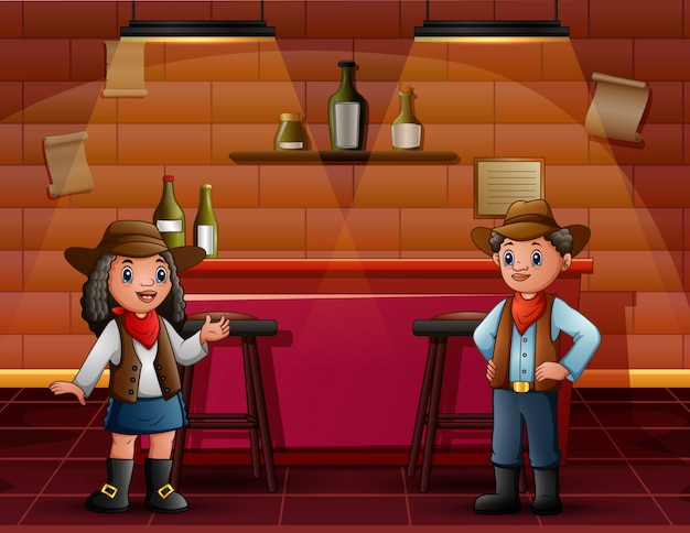 African boy and girl in cowboy clothes at the bar