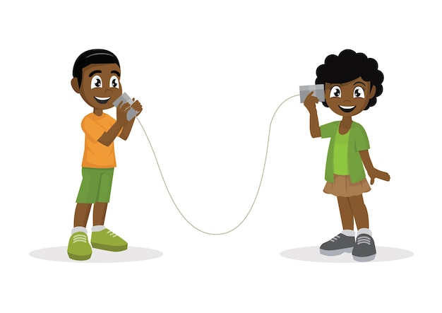 African boy and girl talking with can telephone.