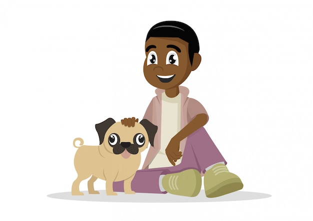 African boy and his dog.