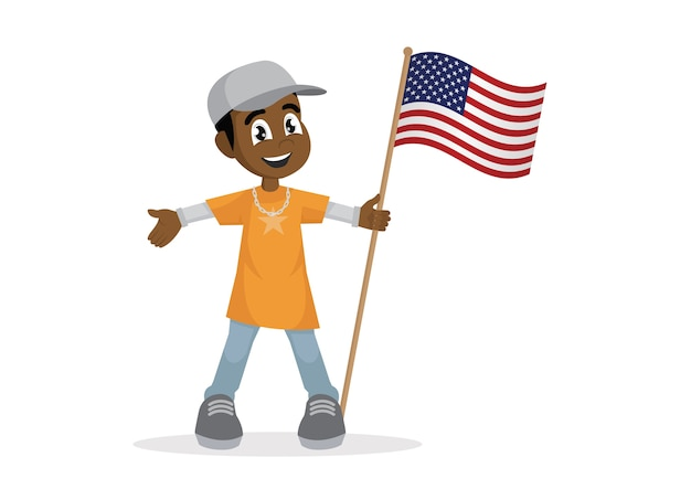 African boy holding a american flag.