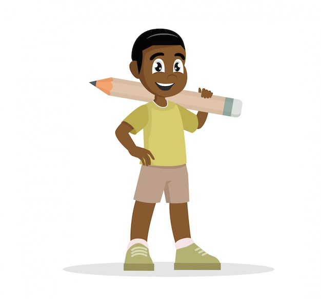 African boy holding a pencil.