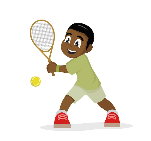 African boy playing tennis on a white background.