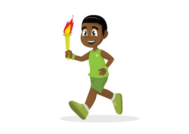 African boy running torch.
