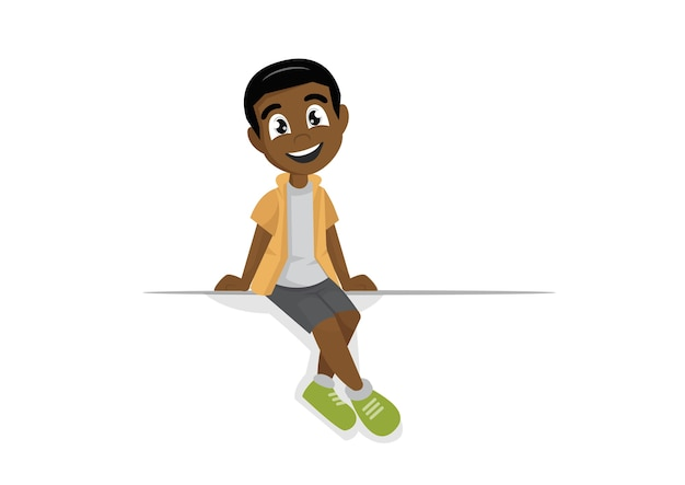 African boy sits on a large white banner.