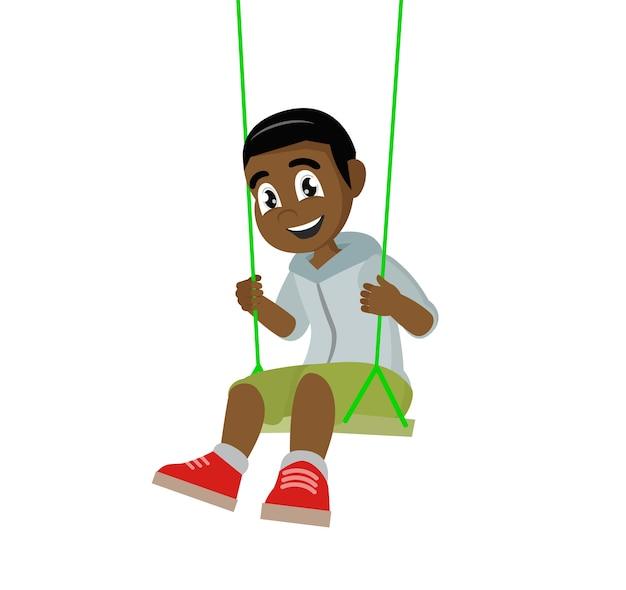 African boy on swing.