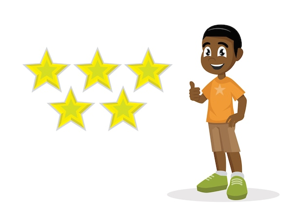 African boy thumbs up for star score.