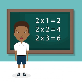 African boy with chalkboard classroom character