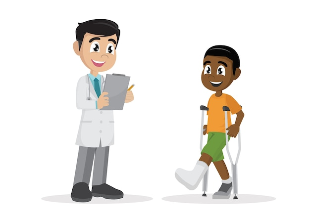The african boy with a plastered leg and crutches next to the doctor.