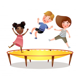 African and brunette girl, cute boy jumping at trampoline