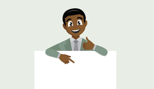 African business man showing blank banner, pointing finger and gesturing thumbs up sign.