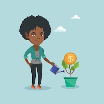 アフリカのビジネス女性のお金の花に水をまきます。