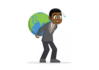 African Businessman carrying huge world globe on his back.