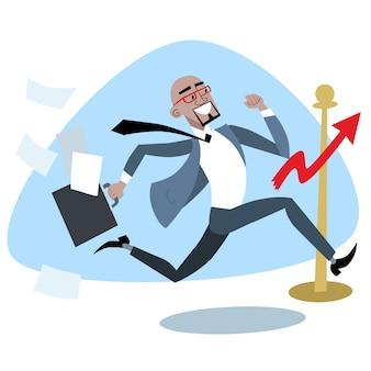 Африканский бизнесмен пересекает график финиша продаж