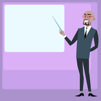 African businessman holding presentation screen