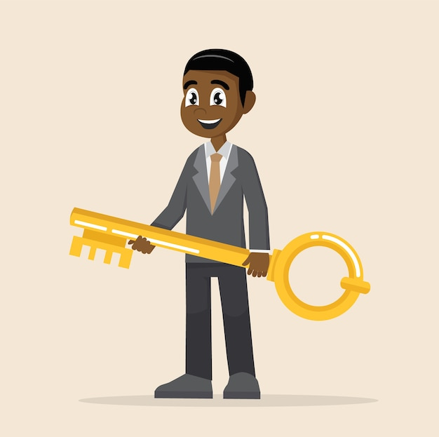 African businessman holds a golden key in his hand.