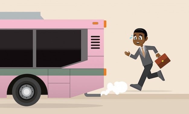 African businessman is running for a outgoing bus.