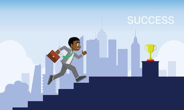 アフリカのビジネスマンは階段のゴールに行く上に実行されています。